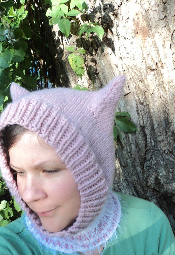 Hand Knit Hat Kitty Ears Balaclava Hood Pink Fuzzy Striped Warm Hand Knit Adult Size