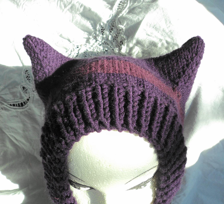 Knitting Pattern For Hood With Ears : Hand Knit Hat Kitty Cat Ears Balaclava Hood Purple Striped