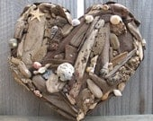 Rustic Beach Decor Natural Driftwood and Sea Shell Heart- Made to Order
