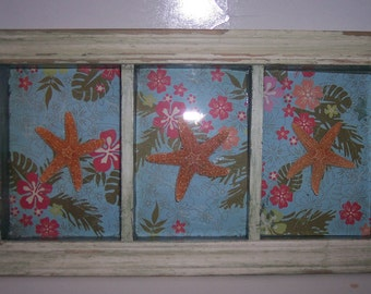Coastal Home Decor Dancing Starfish Tropical Shadow Box with Chippy White and Green Paint Wall Decor Coastal Inspired
