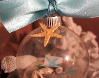 Coastal Ornaments- Clear Glass Ball Ornaments with Sand, Shells, Sea Glass, Starfish- Great for Christmas, Beach Weddings, and Decorating