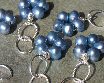Blue Pearl Flower Charm Pendant