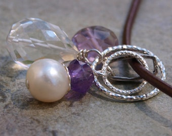 Pearl and Amethyst Charm Pendant
