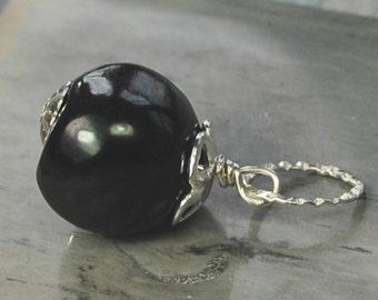 Black Pearl Sterling Charm