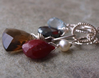 Ruby and White Pearl Charm Pendant #57