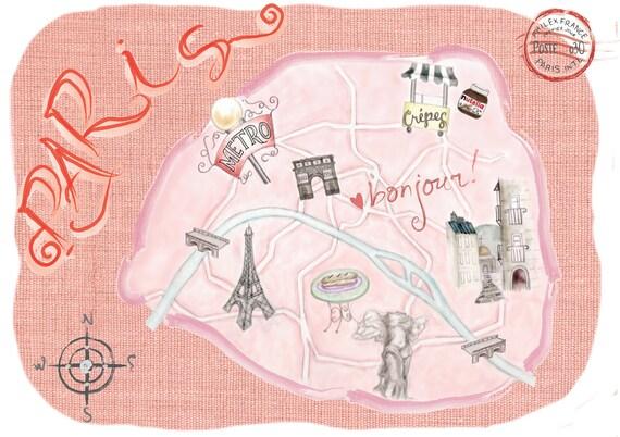 8x10 Map of Paris