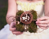 CLEARANCE Nested Pearls- mossy bird's nest ring bearer pillow