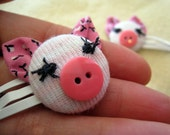 FREE SHIPPING-Tiny Pink Piglet Hair Clips- pair of baby girl/toddler pigs