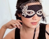 Black and White Butterfly Masquerade Mask with birdcage veil