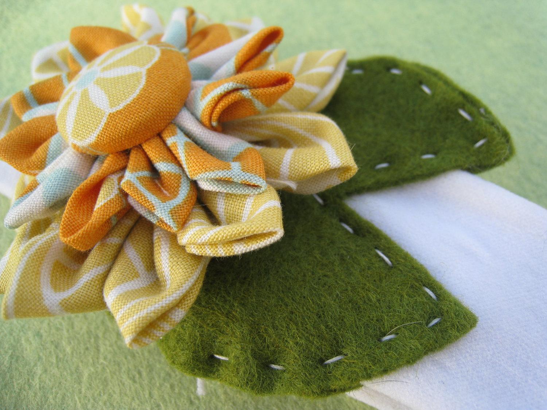 FREE SHIPPING Lilypad and Lotus- orange yellow and blue baby girl headband, joel dewberry fabric