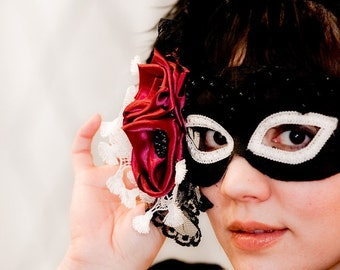 Red Roses and Black Lace-  masquerade and boudoir mask