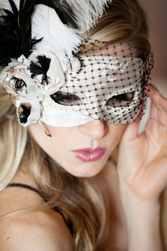 Lace Anenome Masquerade Mask with feathers and veil