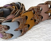 SALE Lacey Link Belt Small to Medium Brown Print, Lilac, Gray Blue, Mustard, Beige Colors Karen Kell Collection