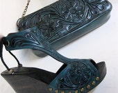 RESERVED Teal Tooled Clog Shoes & Green Turquoise Stone Ring with Box