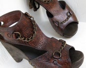 SALE Gladiator Clog Shoe Brown Leather Wooden Wedge Chain Detail Antique Brass Tie back Karen Kell Collection