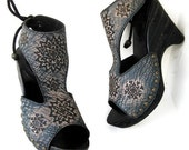 RESERVED for Kristan SALE Blue Snowflake Tooled Clog Shoe Stained Transparent Black Wooden Wedge Karen Kell Collection