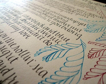 "Custom Calligraphy Wall Art // Handwritten Poem, Quote, Saying or Verse // 16x20"""