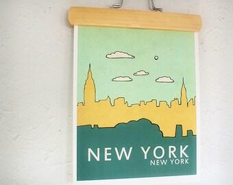 New York No.1 // Typographic City Skyline Print, Nursery Art, Childrens Decor, Illustration, Wall Decor, Modern Art, NYC, Blue, Orange, Teal