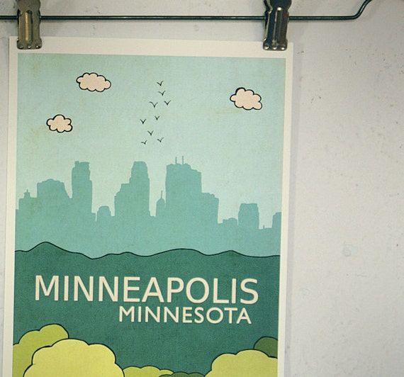 Minneapolis // Modern Baby Nursery Decor, Typography Poster, City Skyline, Giclee, Illustration, American Travel Theme, Digital Print