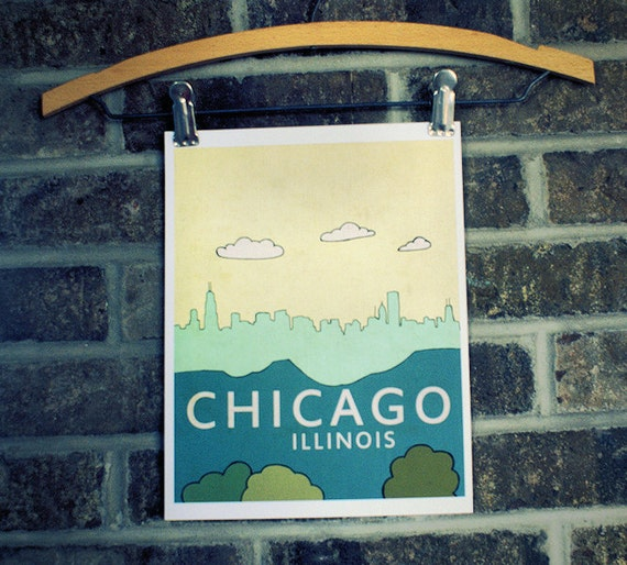 Chicago City Skyline Art Print // Chicago No.2 // Travel City Skyline Illustration and Typography Poster