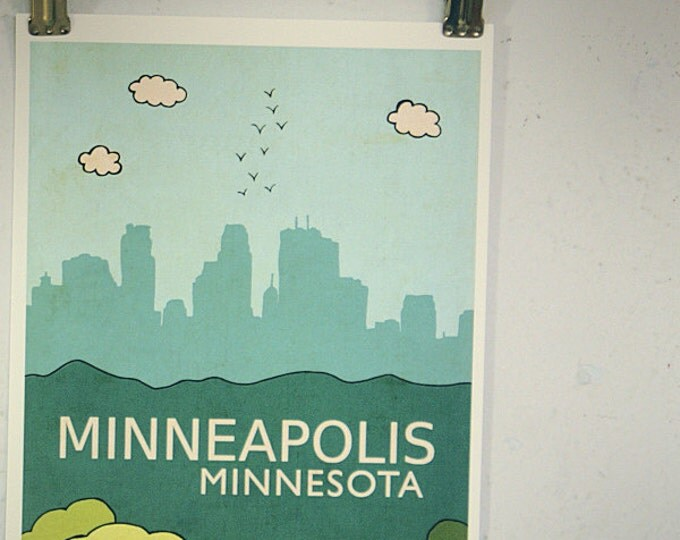 Minneapolis // Modern Baby Nursery Decor, Typography Poster, City Skyline, Giclee, Illustration, American Travel Theme, Digital Print
