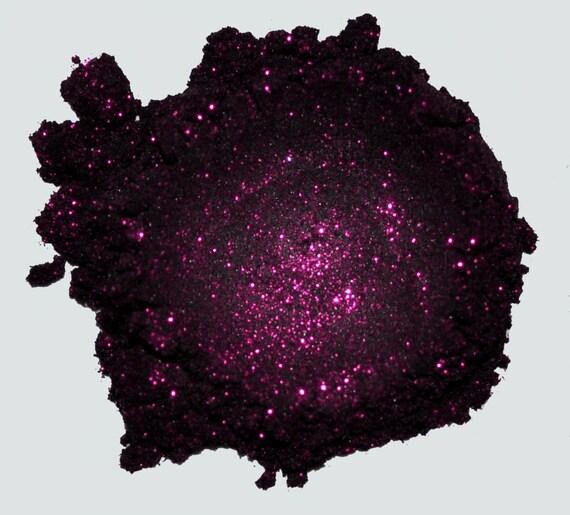 Rock Star - Black With Dark Fuschia Glitter - Carina Dolci Mineral Eye Shadow VEGAN