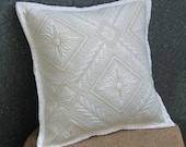 Quilted,Natural,Goldy Pure Cotton Cushion Cover