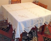Natural Cream Tablecloth with Lace-Square