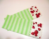 Set of 2 Tea Towels,Guest Towels or Kitchen Towels-Lime Green,White striped and Strawberry