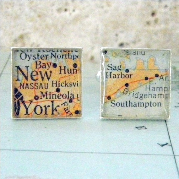 Custom Map Cufflinks - you choose the special place in the heart