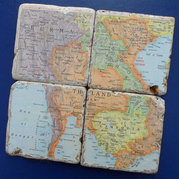 Thailand old time vintage Atlas Map Rustic Coasters, or you choose the  destination, Can be customized