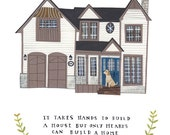 RESERVED FOR ELIZABETH: Custom illustrated house portrait