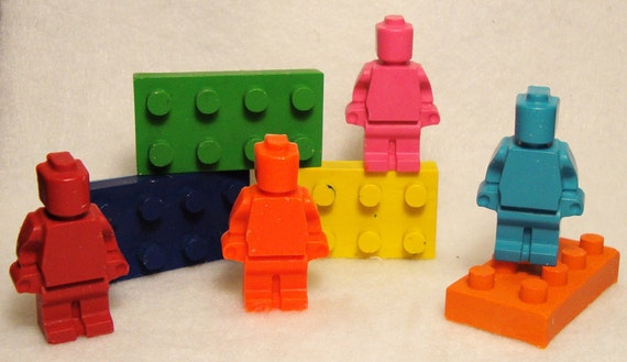 5 sets - Lego Style Minifigures and Blocks Crayon pack (40 Crayons)