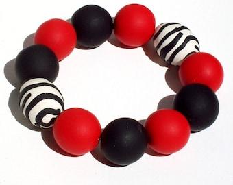 Gameday Bracelet w/ Red, Black, White Oversized Beads FREE SHIPPING