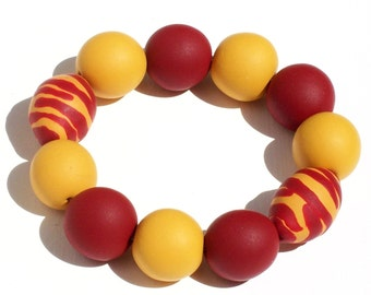 Gameday Bracelet w/ Garnet and Gold Oversized Beads FREE SHIPPING