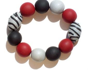 Gameday Bracelet w/ Crimson, Grey, Black Oversized Beads FREE SHIPPING