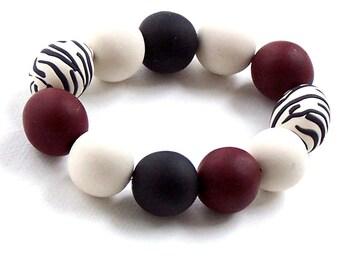 Gameday Bracelet w/ Garnet, Black, White Oversized Beads FREE SHIPPING