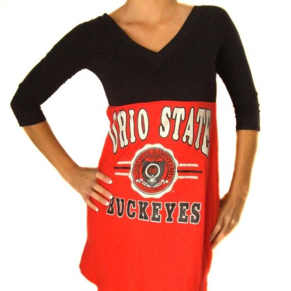 Sexy Gameday Long Sleeve Dress made w/ Ohio State Tshirt - SM/M FREE SHIPPING