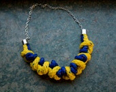 colorful chunky knotted rope & chain necklace