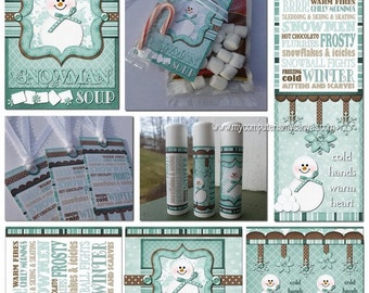 Snowman soup tags lip balm labels and bookmarks for 2 125 x 1 6875 label template