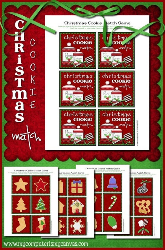 CLEARANCE Christmas Cookies Memory Game Cards - Printable INSTANT DOWNLOAD