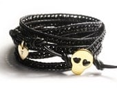 SALE, Black beaded leather wrap, FREE Shipping, gold vermeil skull button, handstamped tag, 40""