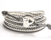 LAST Chance Today, Dark Grey Skull leather wrap, sterling silver beads and button