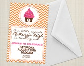 Invitations - Chevron Cupcake - DIY Printable
