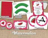 Watermelon Party- DIY Custom Printable - Full Collection - Invitations, Banner, Labels, Straw Tags, Cupcake Wrappers & Toppers