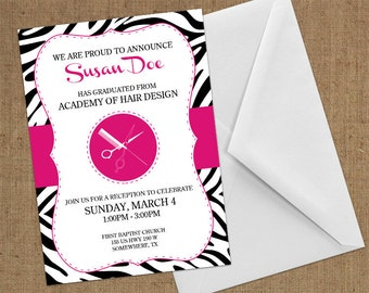 Invitations - Cosmetology / Beauty School - DIY Printable