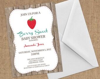 Invitations - Strawberry - DIY Printable