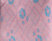 1 1/2 Yards - Vintage 1970s Groovy Pink and Blue Knit Fabric.