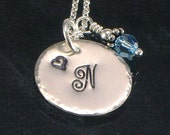 Monogrammed Necklace -  Hand Stamped Sterling Silver Disc with Birth Crystal Charm - Cyber Monday