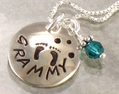 Grammy Necklace for Grandma - Hand Stamped - Baby Feet or Design of Choice - Jewelry for Grandmother - First Grandchild - Ready to Ship